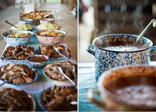 Деревенская еда на свадьбу