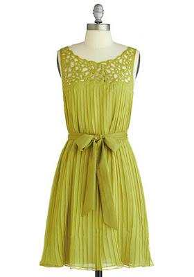 Салатовое платье MODCLOTH THEN A-GLEN