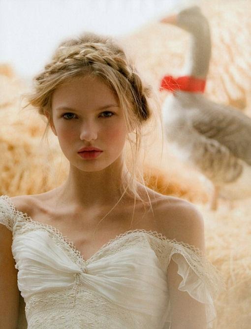 Прическа в деревенском кантри стиле на свадьбу