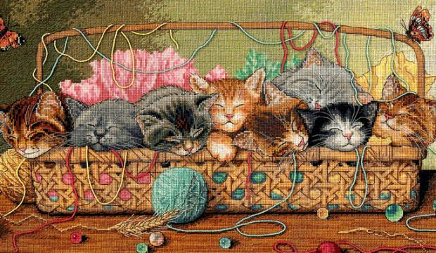 Вышивка с котиками фото