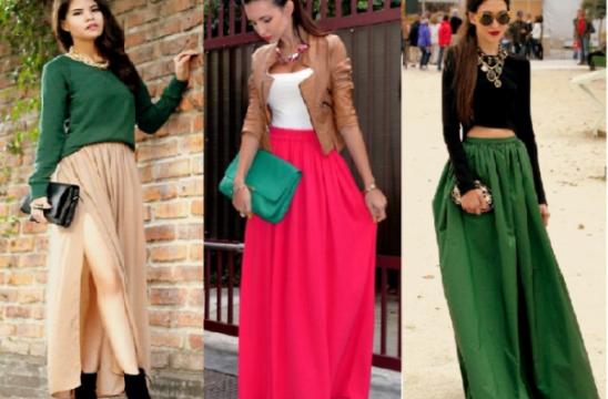 Чем носить длиные юбки