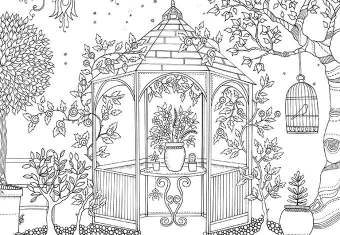 Раскраска таинственный сад распечатать